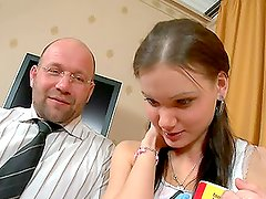 Hot teen Irina blows her teacher and gets fucked by him
