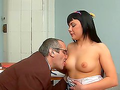 Hot brunette Olesya is getting fucked by an old man