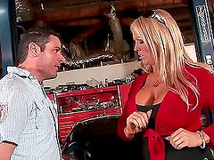 Alura Jenson the busty blonde getting fucked in a garage