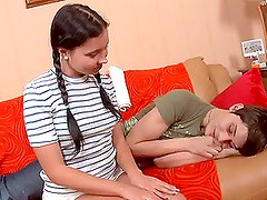 Hot brunette Sonya comes to cure her sick boyfriend