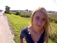 Amazing POV outdoor sex with a nice blonde chick