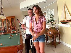 Brown-haired Gina Lopez gets fucked on the pool table