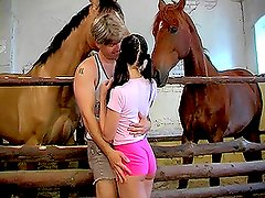 Hot brunette Sandy gets fabulously fucked on a farm