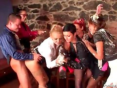 Whipped cream sweetens up this hot orgy