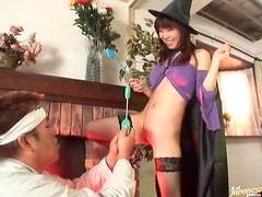 Slutty witch gives a sensual blowjob
