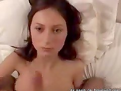 Hot big tittied brown-haired girl getting fucked POV