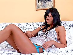 Amazing Alena strips and masturbates on the sofa