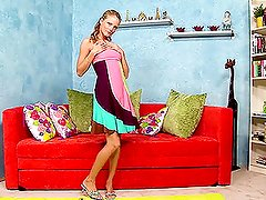 A hot sweet-ass blonde pleases herself with two dildos
