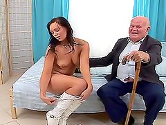 Adorable brunette chick sucking and riding old cock