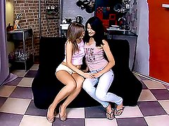 Busty blond and a hot brunette are sharing a dildo
