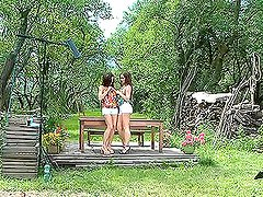 Silvia Saint and Stacy Silver fondling and licking each other outdoors