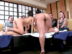 Naked waitresses in the sushi bar are fucked in their tight Asian pussies.