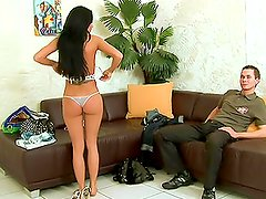 Sexy brunette changes her clothes and has a hot fuck