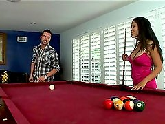 Hot and bosomy babe is seducing tough guy when playing billiard
