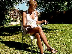 Naughty girl masturbates in the backyard and eats her juices
