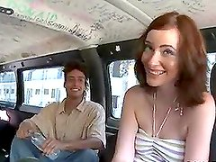 Nasty redhead girl fucks for cash in bangbus