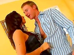 A cute brunette has an interview and gets hotly fucked