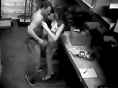 This couple gets taped on the security camera while fucking