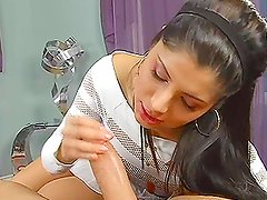 Brunette girl practices her sucking skills and stretches her mouth muscles
