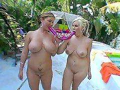 Two chubby hot big-breasted and heavy-assed babes enjoy swimming
