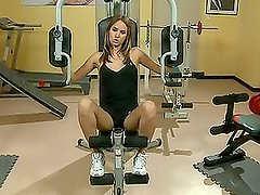 Brunette babe wroks out in gym and find a dick to blow