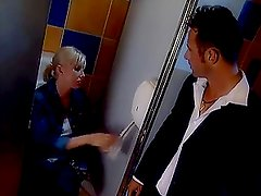 Hot and sexy blond gets fucked in the bathroom