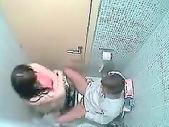 Couple caught having sex in the bathroom by a secret cam