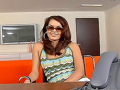 Sexy tattooed brunette gets fucked in the office