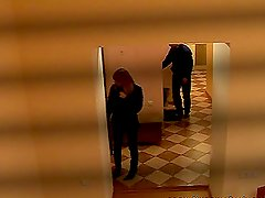 Hardcore fucking in the public corridor performed by a couple of nymphomaniacs