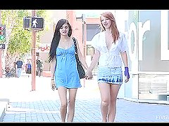 Tamara & Lacie are walking in downtown kissing and fingering each other