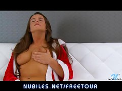 Brunette beauty rubs her tight pussy to orgasm
