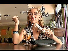 Nasty girl Maelynn drinks beer and masturbates in a cafe