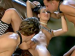 Threesome bisexual sex with leather сollarы