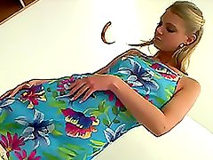 Cute Girl Stipping And Sticking Dildo Up Her Shaved Pink Pussy.