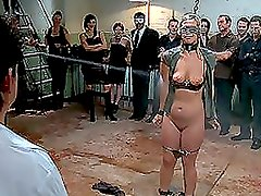 Sexy Blonde Slut Humiliated In Front Of a Crowd