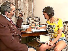 Dirty Old Teacher Drives His Cock Into His Student's Pussy.