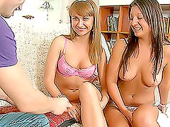 Blonde and Brunette Teens Sharing Big Fucking Cock