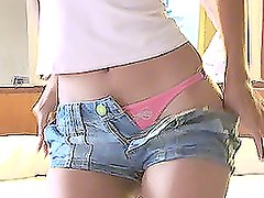 Hot Girl Taking Off Her Tiny Shorts to Show Her Pink Panties