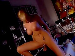 Blondy in the bar with sexy tattoo in back gets thrilled