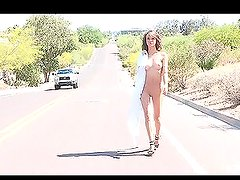 Horny chick Malena goes for a walk and throws her clothes away