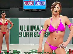 Cute Girls in Bikini Catfight With Lots of Lesbian Fetish Action