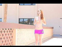 Hot chick Lacie is not afraid to fall down from the railing
