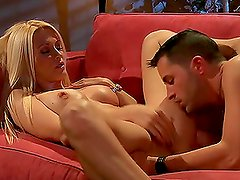 Sexy Blonde Jessica Drake Riding Cock On a Red Couch