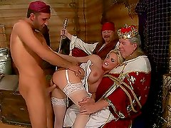 Busty Blonde MILF Gets Fucked by Pirates in Her Sexy Lingerie