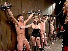 Two Blonde Dominatrices Playing and Fucking Three Submissive Dudes