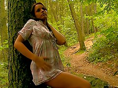 Sexy Brunette Teen Masturbating Outdoors in the Forst