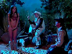 Indian Babe Bangs Two Cowboys in the Wilderness