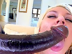 Huge Monster Cock Drilling a Blonde's Pussy in Interracial Porn Clip