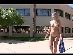 Beautiful Blonde Masturbating on a Tree Trunck Naked in Public