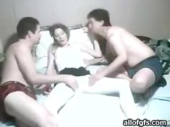Naughty amateur getting groped by two horny guys